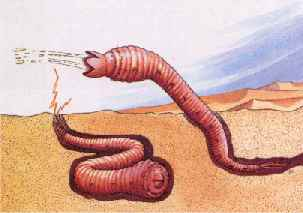 A Mongolian Death Worm showing 2 forms of attack.